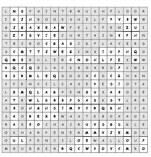 Word Search School Things With 27 Hidden Words Pdf