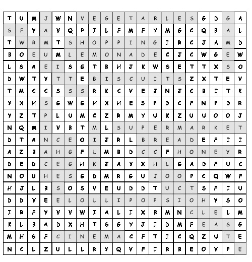Word Search In The Shopping Centre With 20 Hidden Words Pdf Worksheet