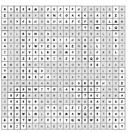 word search fitness and sport with 25 hidden words  pdf
