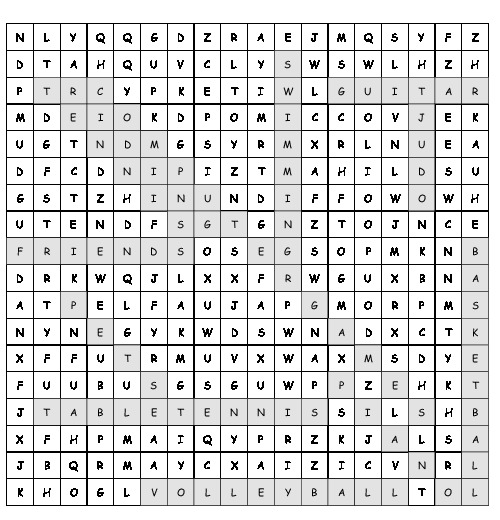 Word Search Word Search Sports And Hobbies With 12 Hidden Words