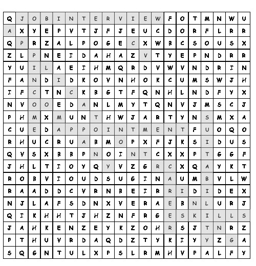 Word Search Job application with 10 hidden words (PDF, worksheet)