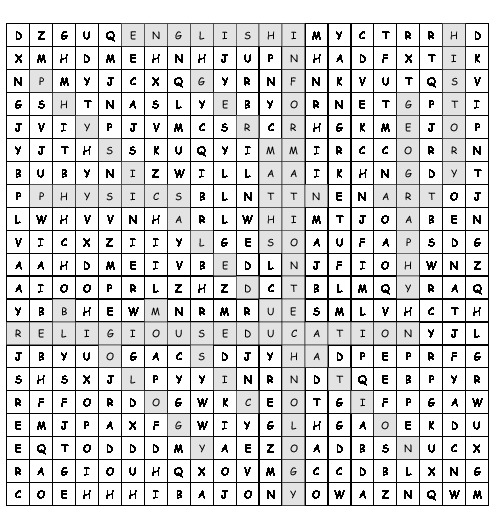 Word Search School Subjects With 12 Hidden Words Pdf Worksheet