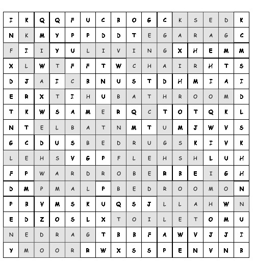 Word Search Around The House With 20 Hidden Words Pdf