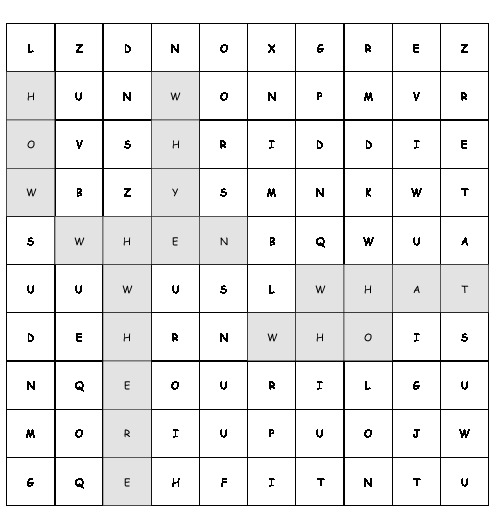 Word Search Question words with 6 hidden words (PDF, worksheet)