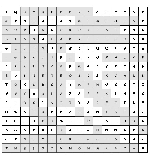 word search martin luther king jr with 19 hidden words pdf